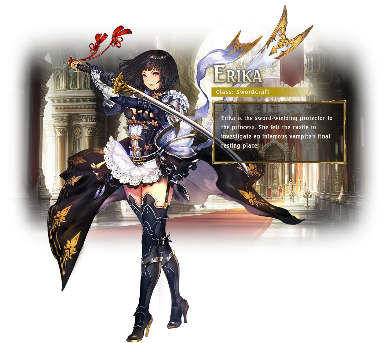 Erika / Class: Swordcraft / Erika is the sword-wielding protector to the princess. She left the castle to investigate an infamous vampire's final resting place.