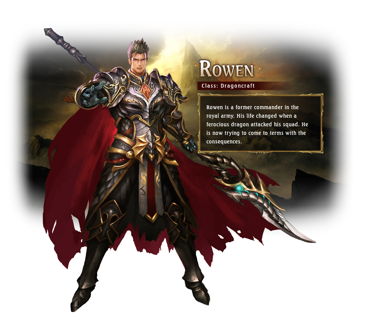 Rowen / Class: Dragoncraft / Rowen is a former commander in the royal army. His life changed when a ferocious dragon attacked his squad. He is now trying to come to terms with the consequences.