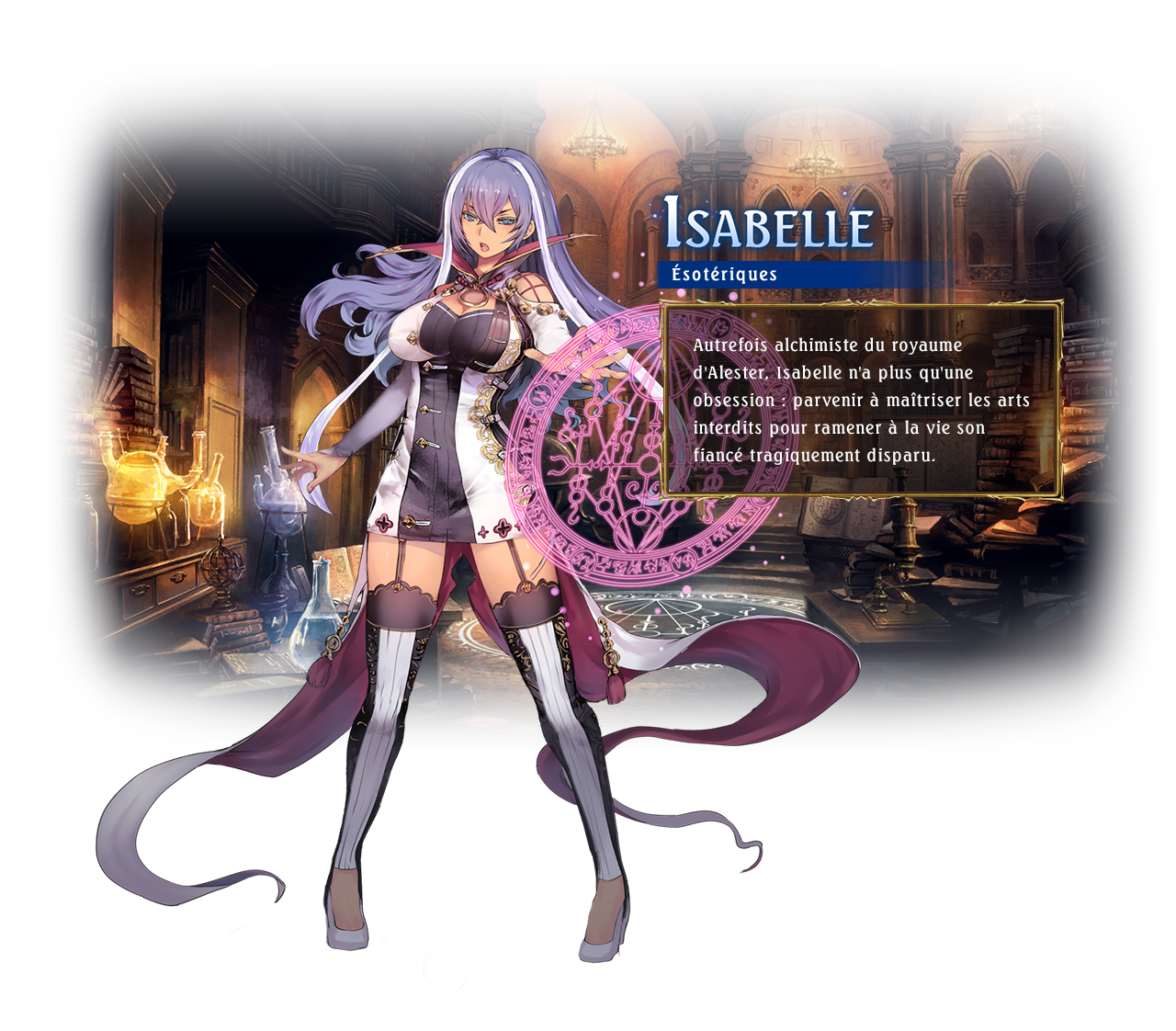 Isabelle / Class: Runecraft / Isabelle is an alchemical researcher. The tragic death of her beloved fiancé made her obsessed with the idea of resurrecting the dead.